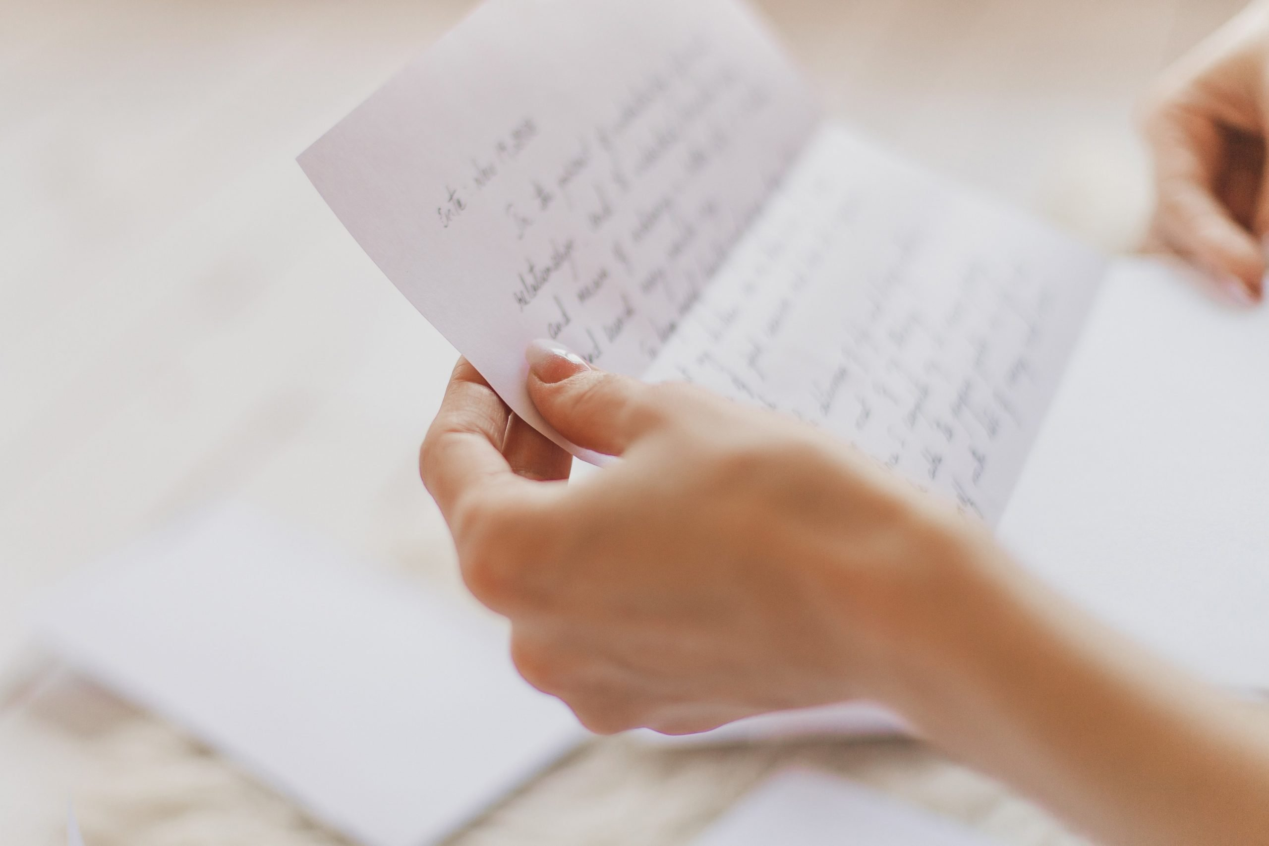 someone reading a handwritten letter